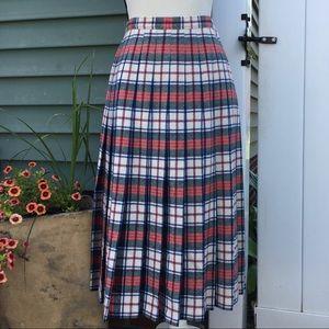 Vintage Pendleton Tartan Wool Pleated Midi Skirt